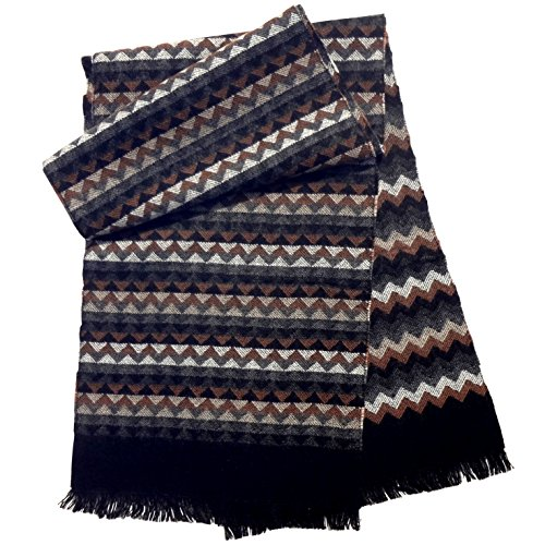 Best Special Custom Name Personalized Wide Brown Gray Chevron Scarf Quirky Fun Cool Scarves Easter Basket Stuffer 2018 Gift Idea for Sale Mom Dad Daughter Son Men Women Him Grandpa Grandparent Parent (Mens Personalized Scarf)