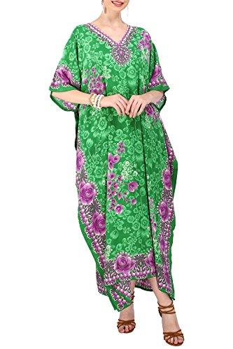 Manquer Somptueux Femmes Londres Caftan Kimono Tunique Taille Libre Longue Robe De Soirée Maxi Pour La Plage Nightwear Vacances Loungewear Tous Les Jours Couvrir Robes Vertes