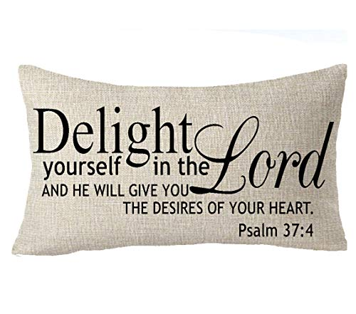 FELENIW Delight Yourself in The Lord, and He Will Give You The Desires of Your Heart Psalm 37:4 Quote Office Gift Throw Pillow Cover Cushion Case Cotton Linen Material Decorative Lumbar 12x20 inches ()