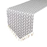 Uphome Bohemia Tassel and Modern Grey Chevron Pattern Table Runner - Cotton Canvas Fabric Table Top Machine Washable Decoration Home Decor, 12x72