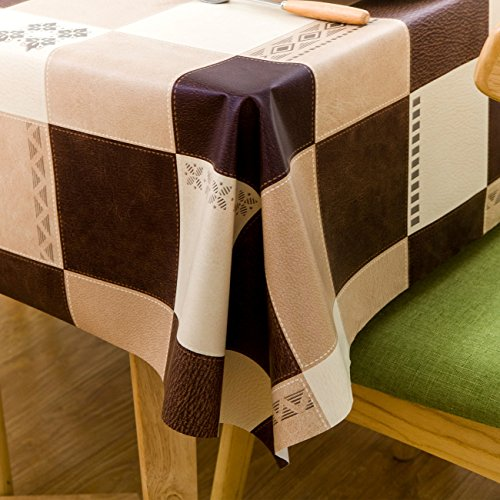 Square Vinyl Oilcloth Tablecloth Water Resistant/Oil-proof Wipeable PVC Heavy Duty Plastic Tablecloths for Kitchen Small - Checker Tan and Dark Brown 54 x 54 Inch (Square Vinyl Tablecloth Brown)
