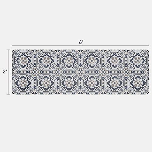 Vinyl Floor Runner, Durable, Soft and Easy to Clean, Ideal for Kitchen Floor, Entryway or Hallway Floor Mat. Freestyle, Denim Tapestry Pattern (2 ft x 6 ft) ()