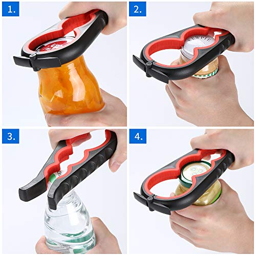 Jar Opener Can Opener Bottle Opener for Seniors Arthritis Hands and Anyone with Low Strength Arthritis Jar Openers Get Lids Off Easily Green and White