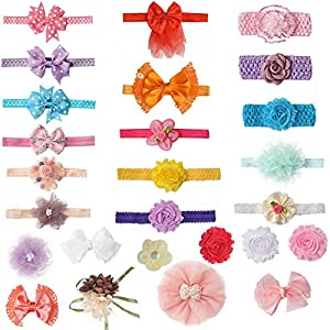 pony princess Baby Girl Headbands 26 PCS Flower(Bowknot) and 16PCS Bands Freely Combine for Newborn, Toddler and Childrens Hair Accessories