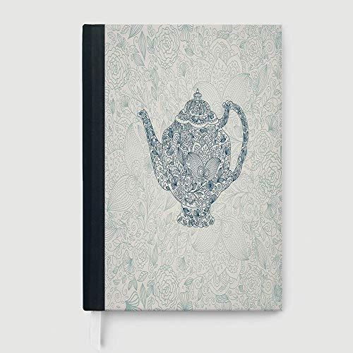 Casebound Hardcover Notebooks,Kitchen Decor,Mandala Teapot Vintage Style Design Floral Background Ornamental Lace Leaf Pattern Art,96 Ruled Sheets,B5/7.99x10.02 in