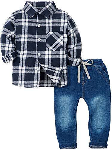 (YALLET Toddler Boys Clothes Outfits 2 Pieces Long Sleeve Plaid Flannel Shirt Denim Pants Jeans Set)