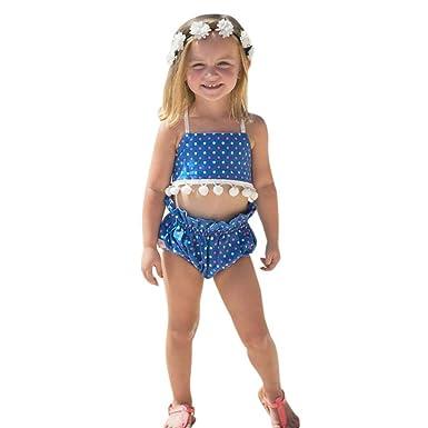 b0a9a4257f0f Amazon.com  KONFA Toddler Baby Girls Swimwear Dots Print Tassel ...