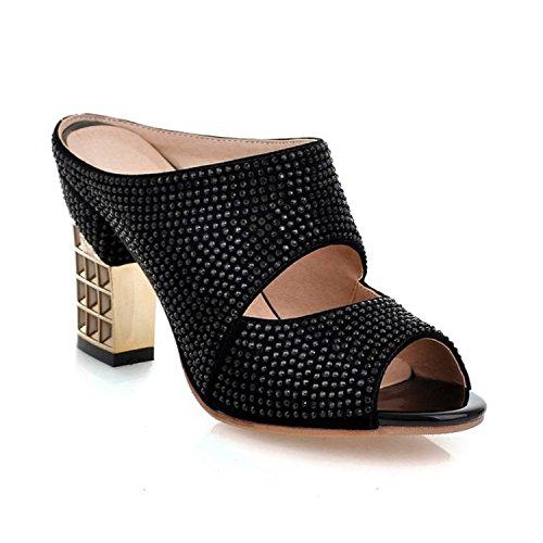 Karenemp Shoes Women's Rhinestone Peep Toe Chunky Heel Sandals Slipper Black4 B(M) US