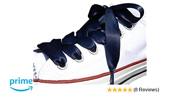 d4275101181193 Amazon.com  High Fashion Navy Satin Ribbon Shoe Laces   Shoe Strings To Fit  Converse Sneakers in Lo s   Hi Tops   Similar Kicks Pumps Trainers.