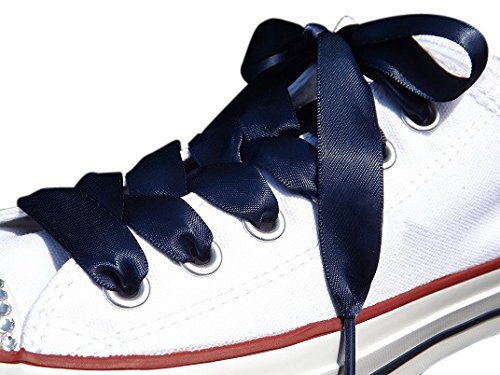 ef118f058b1 Amazon.com  Navy Flat Satin Ribbon Shoelaces