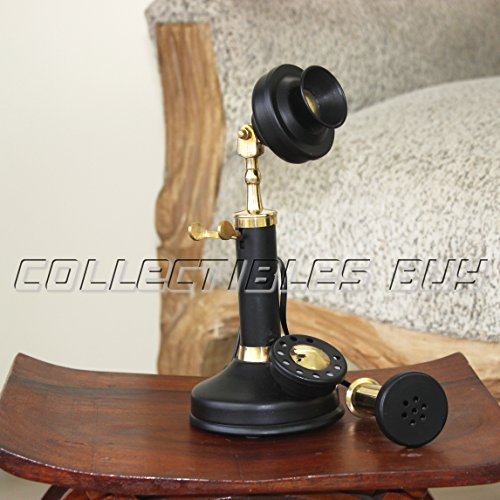 Home Decorative Marine Black Candle Stick Phone Nautical Brass Corded Desk  Decor 2017
