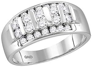 10kt White Gold Mens Round Channel-set Diamond Raised Wedding Band 1.00 Cttw