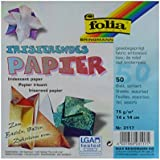 Global Art Folia Iridescent Origami Paper, 6 by 6-Inch, Fabric Embossing, 50-Pack