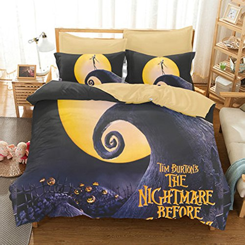 Koongso 3D Funny Cartoon Pattern Print Bedding Sets,Scarecrow Style Jack Under The Moon Duvet Cover with Pillowcase Gift 3D Terrorist Design