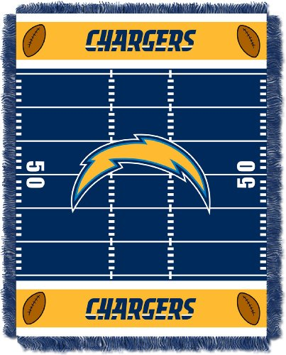 Uniform San Diego Chargers (The Northwest Company Officially Licensed NFL Los Angeles Chargers Field Bear Woven Jacquard Baby Throw Blanket, 36