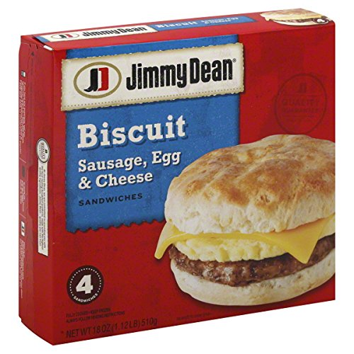 JIMMY DEAN BREAKFAST SANDWICH SAUSAGE, EGG & CHEESE BISCUIT 18 OZ PACK OF 2