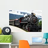 Cheap Wallmonkeys Steam Engine Train Leaving The Station Wall Decal Peel and Stick Graphic WM118291 (36 in W x 24 in H)