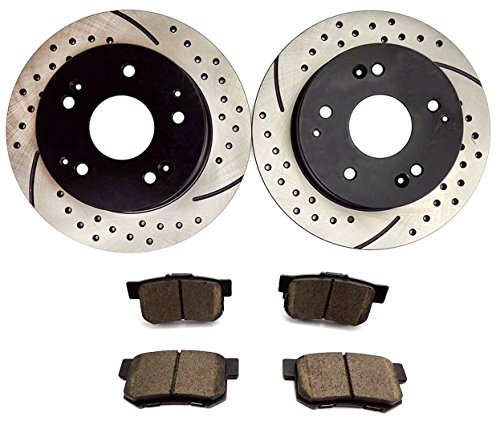 Atmansta QPD10003 Rear Slotted & Drilled Rotors and Ceramic Pads Brake Kit for 1997-01 Acura Integra 2002-06 RSX 1998-02 (01 Slotted Brake Rotors Pads)