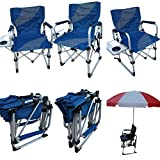 'Amaze' Folding Aluminium Beach swimming pool outdoor portable light weight multi utility folding Director Chair with side table and drink holder (Blue/Grey)