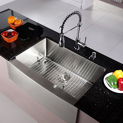 - Kraus KHF200-30-KPF1612-KSD30CH 30 inch Farmhouse Single Bowl Stainless Steel Kitchen Sink with Chrome Kitchen Faucet and Soap Dispenser