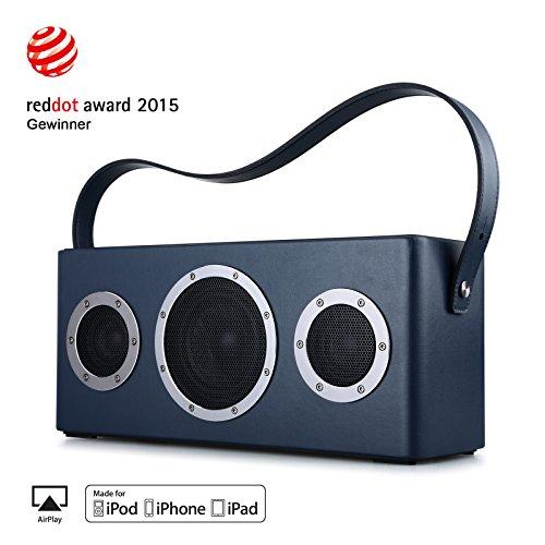 Multiroom-Lautsprecher AirPlay-Lautsprecher, GGMM M4 Portable WIFI/ Bluetooth Lautsprecher Outdoor Wireless Speaker mit Lederhandgriff (Blau)