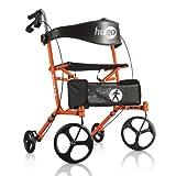 Hugo Mobility Sidekick Side-Folding Rollator Walker with Seat, Tangerine