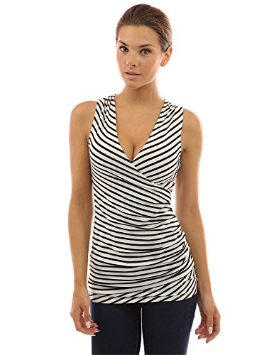 PattyBoutik Women's Striped V Neck Faux Wrap Top (Ivory with Black Stripes S) (Rayon Sleeveless Wrap Top)
