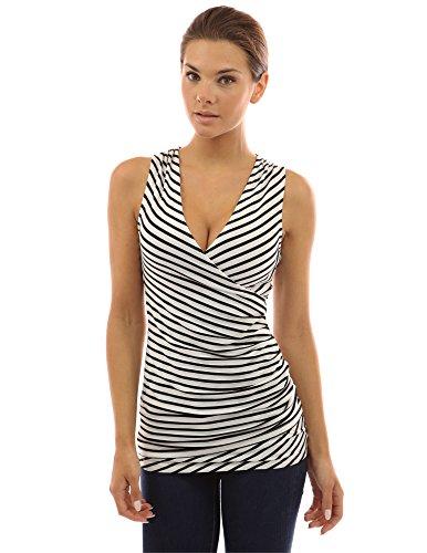 PattyBoutik Women's Striped V Neck Faux Wrap Top (Ivory with Black Stripes (White Stripe V-neck Top)