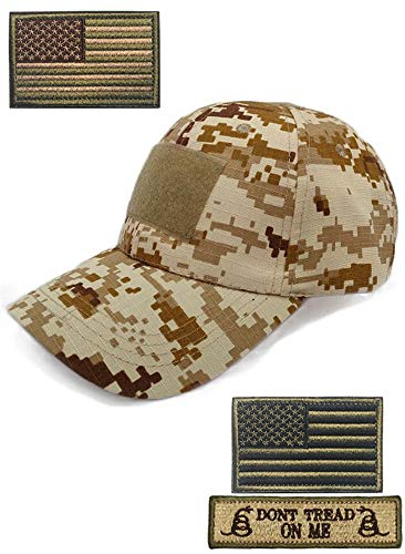 DOngRWF Outdoor Sport Military Tactical Cap, Army Hat Hunting Camouflage Strip Type Loop Behind Baseball Cap Include 3 Pieces Tactical Military Patches (Desert Digital)