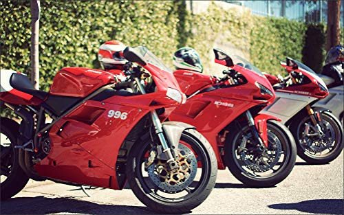 Innerwallz Ducati 996 1098 Sportbike Red Three 3 Motorcycles Wall Art, Pop Art, Poster, Art Prints   Rare - Bikes 996 Ducati