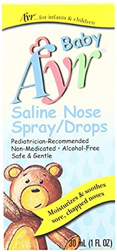 Baby Ayr Saline Nose Spray/Drops, 1-Ounce Spray Bottles (Pack of 3) by Ayr