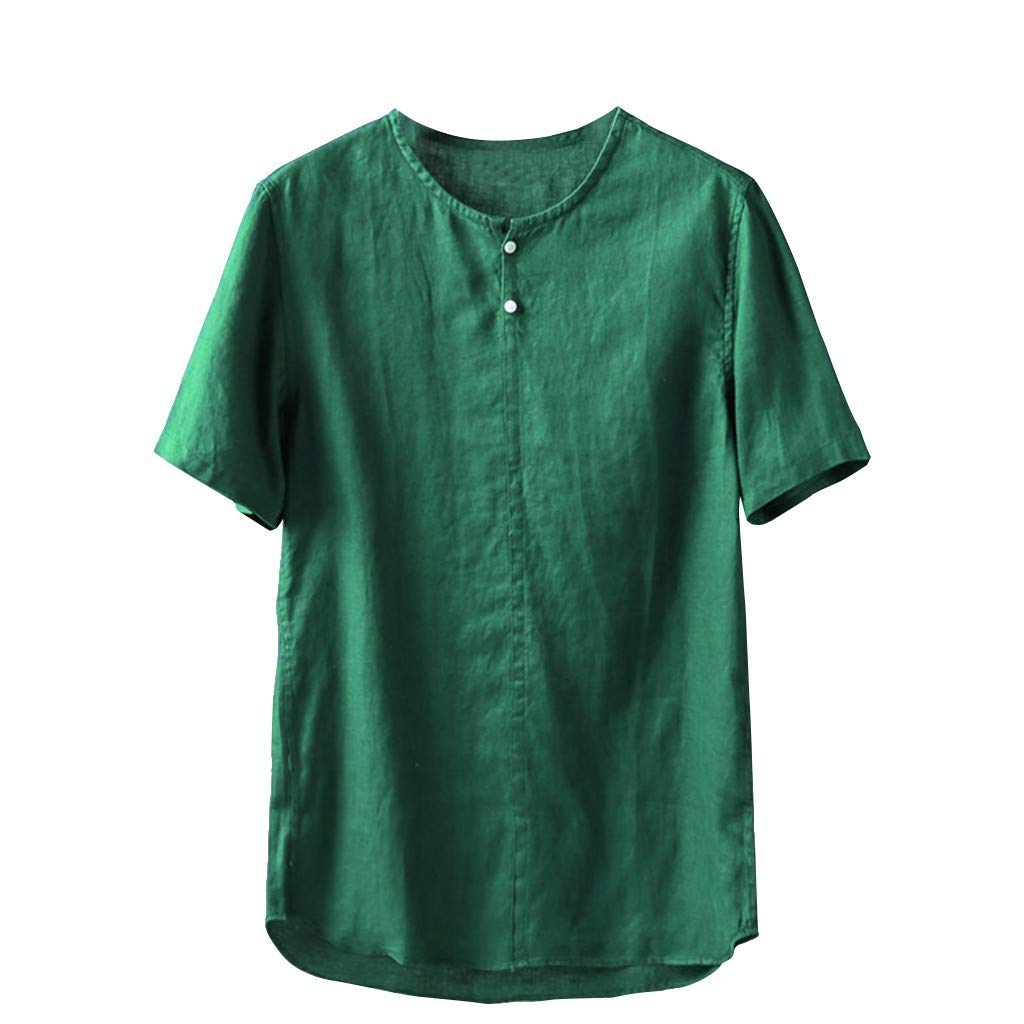 Mens Short Sleeve Tops Shirts Summer 2019 T-Shirt Fashion Pure Cotton and Hemp Comfortable Beautyfine