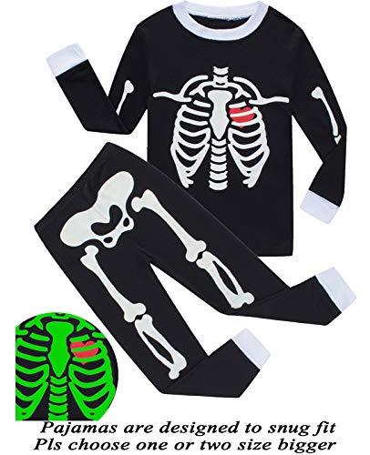 Dolphin&Fish Boys Pajamas Skeleton Glow in The Dark Halloween Girls Pajamas Toddler Pjs Kids Sleepwear -