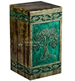STAR INDIA CRAFT Urns for Human Ashes Adult, Rosewood Cremation Urns for Ashes, Funeral Urns, Burial Urns for Columbarium, Wooden Box Urns for Human Ashes - Large (250 Cu/In) (Popular)