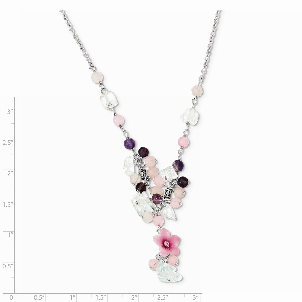 Jewelry Necklaces Gemstone Sterling Silver Pink CZ//Blue Topaz//Pink Agate//Amethyst Necklace