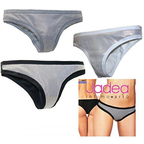3unidades Slip Mujer brasileño jadea 2/S-3/M-4/L-5/XL Algodón efecto Lamè 6687 Multicolor