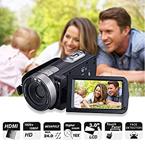 "Digital Camera Camcorder, Mengyasi Full HD 1080P 24MP Mini Video Camcorder with IR Night Vision Remote Control Handheld Recorder 3.0"" LCD Big Screen (2 Batteries Included)"