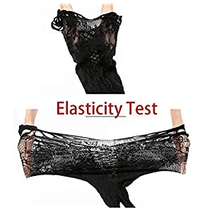 Feeke Women's Trinidad Halter Garter Dress with Attached Stockings, Sexy Lingerie Babydoll Bodysuit Chemise Nightwear