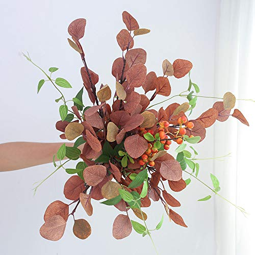 YILIYAJIA Artificial Silver Dollar Eucalyptus Leaf Berry Bunch Greenery Stems Silk Bushes Plastic Plants for Home Party Wedding Decoration (Red)