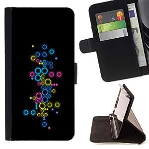 For Samsung Galaxy S3 III i9300 i747 Case , Círculos coloridos abstractos- la tarjeta de Crédito Slots PU Funda de cuero Monedero caso cubierta de piel