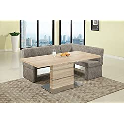 Milan LANIYAH-2 PC NOOK Laniyah Light Oak Extendable Pedestal Dining Table with Nook
