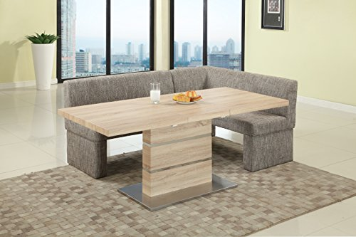 (Milan LANIYAH-2 PC NOOK Laniyah Light Oak Extendable Pedestal Dining Table with Nook)