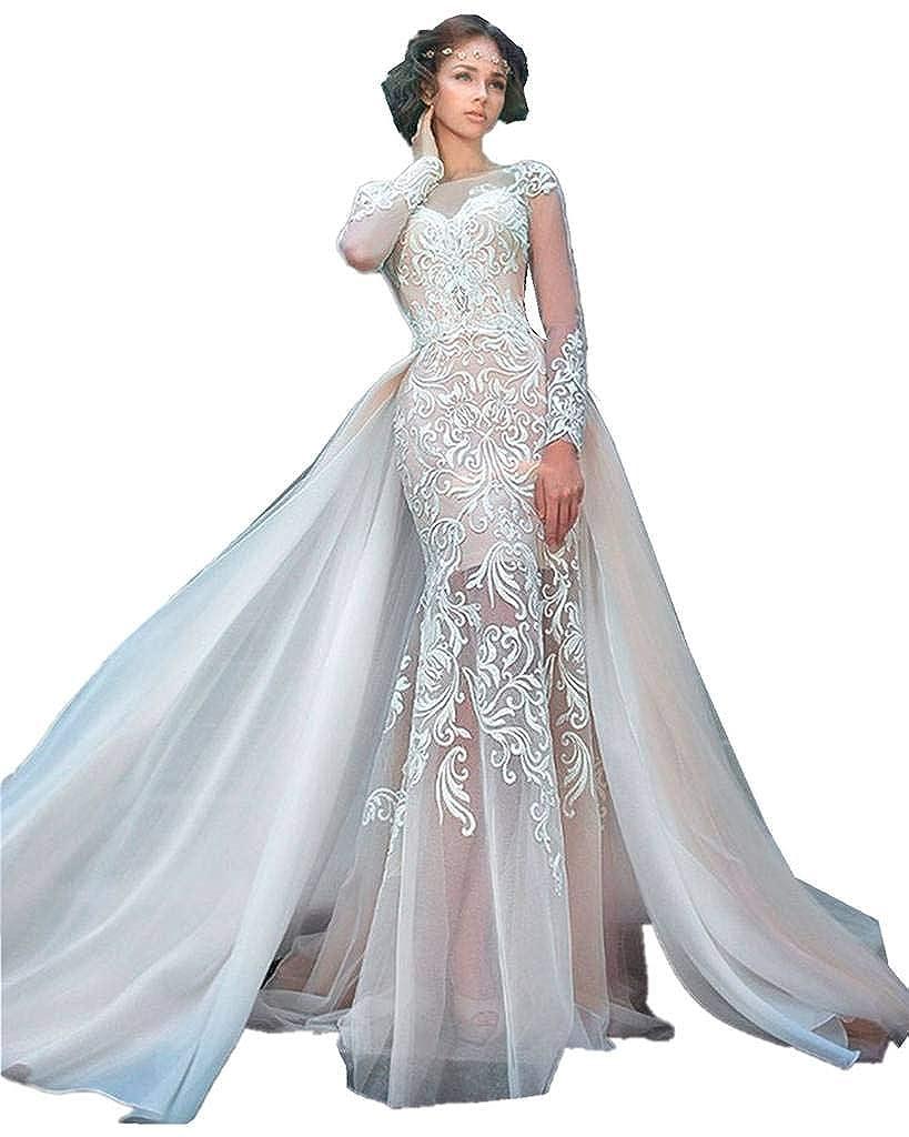 Xswpl 2017 Lace Mermaid Wedding Dress For Brides Tulle Train Bridal