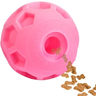 Hipat Large Dog Treat Ball, Dog IQ Puzzle Toy, Interactive Food Dispenser to Slow Feed Best Toy for Training and Play (Pink)