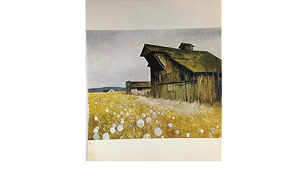"""1970 Vintage NORTHWEST Color Art Plate /""""OREGON BARN /& DANDELIONS/"""" McIntyre Litho"""