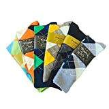 Fine Fit Men's Colorful Arygle or Stripe Dress Socks (6 Pairs) (One Size, AR-B-II)