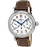 Longines Mono Pusher 180th Anniversary Men's Watch with White Dial Chronograph Display and Brown Leather Strap L27754233