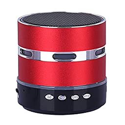 Sicneka Led Light Wireless Mini Portable Speaker Enceinte Bluetooth With Mp3 Player FM Radio Microphone Support TF Card For All Bluetooth Device (Red)