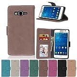G530 Flip Case, Galaxy Grand Prime case, Samsung Galaxy Grand Prime Case Cover,YiLin PU Leather Flip Folio Wallet Case Cover for Samsung Galaxy Grand Prime - BROWN