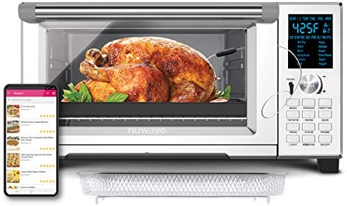 NUWAVE BRAVO XL 30-Quart Convection Oven with Crisping and Flavor Infusion Technology (FIT) with Integrated Digital Temperature Probe for Perfect Results; 12 Programmed Presets; 3 Fan Speeds; 5-Quartz Heating Elements; Precision Temperature Control from 100F to 450F in 5F increments; Cook as much as a ten LB. Chicken, 13 inch Pizza, or 9 Slices of Toast; Air Fry, Broil, Bake, Roast, Grill, Toast; Dehydrate, Warm, and Reheat (NuWave Bravo Convection Oven - 2021 Model)